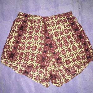 Burgundy Brandy Melville Flowy Shorts